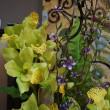 Орхидеи в высокой стеклянной вазе